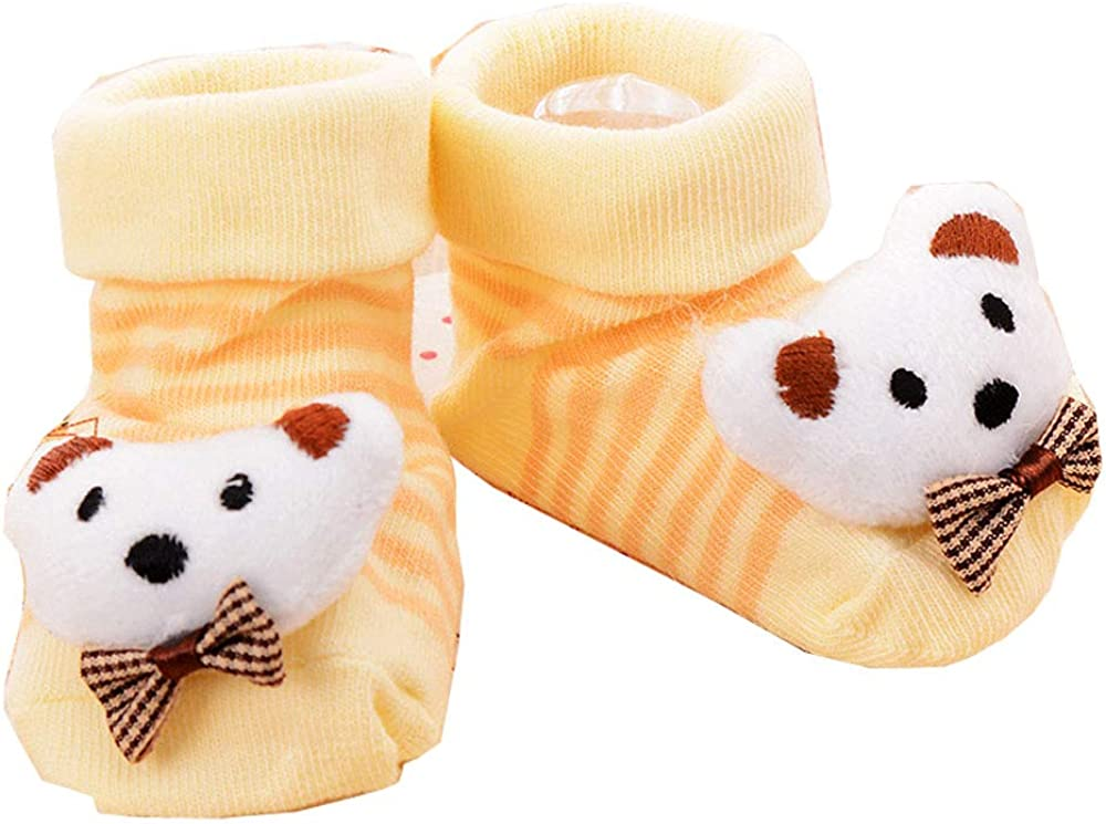 Kids Socks with Anti-Slip and Grip Protection for Baby Boys and Girls Yellow ZHShmily Anti-Skid Baby Booties Sock Slippers 3D Cartoon Baby Socks for Girls and Boys