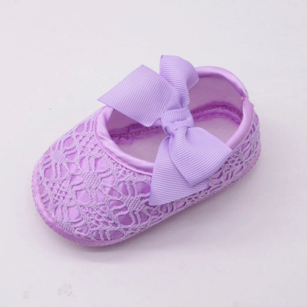 FALAIDUO Newborn Baby Girls Soft Shoes Soft Soled Non-Slip Bowknot Footwear Crib Shoes Soft Shoes