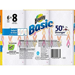 Bounty Basic Big Roll Select-a-Size Print Paper Towels, 95 sheets, 6 rolls (1)