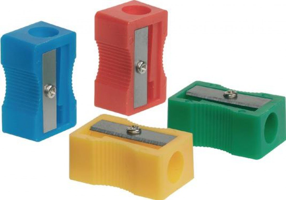 Q CONNECT Single Hole Plastic Pencil Sharpener - Assorted Colours (Pack of 10) VOW Europe KF76992