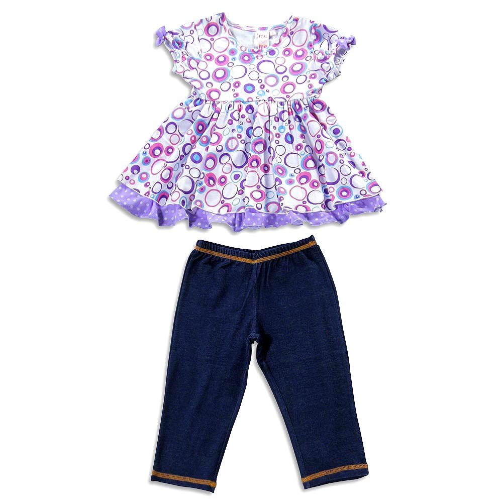 Little Girls Short Sleeve Tunic Pant Set Me Me Me by Lipstik