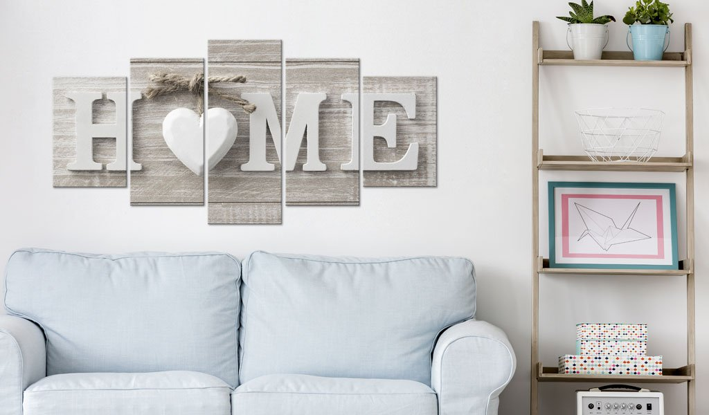 Love Sanctuary Large Canvas Print White Home Sweet Heart Modern Picture Wall Art Decor Painting 60x30 inch