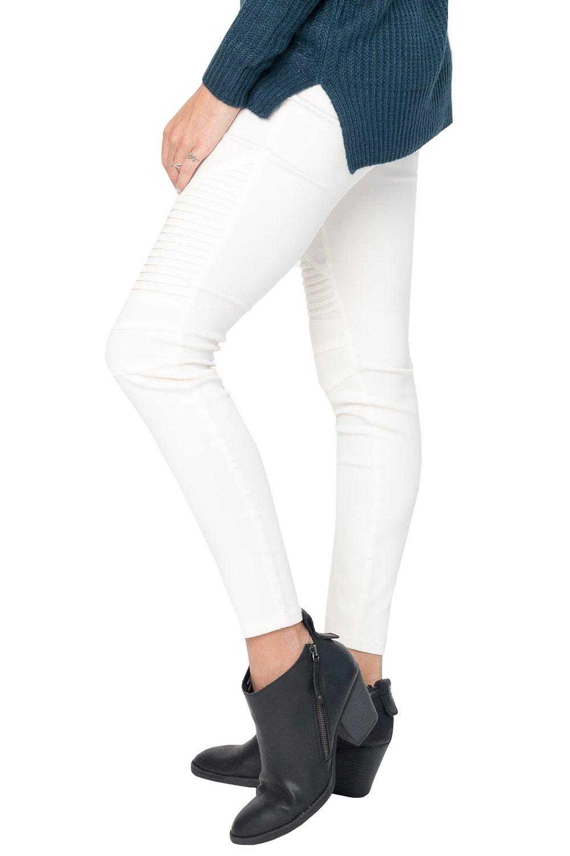 Karlywindow Womens Casual Skinny Pleated Stretch Ankle Slim Fit Moto Biker Jeans