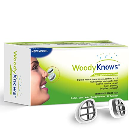 WoodyKnows Super Defense Nano Nose / Nasal Filters Block Pollen, Dust, Dander, Mold, Germs, Allergens, Airborne Particles, Pollution, Allergy Allergic Asthma Sinusitis Rhinitis Hay Fever Allergies Rel at amazon