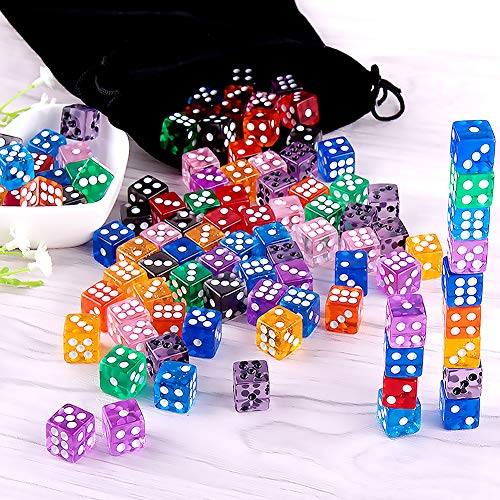 Free Pouch Yahtzee Bunco or Teaching Math AUSTOR 100 Pieces 6 Sided Game Dice 12mm Translucent Colors Square Corner Dices Set for Tenzi Farkle