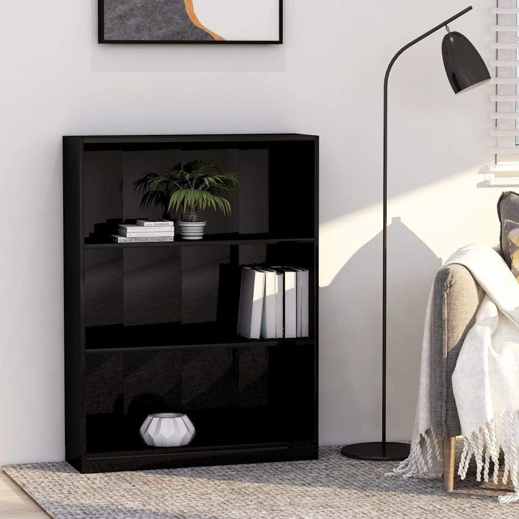 Tidyard Librerías de Oficina Estantería de aglomerado Negro con Brillo 80x24x108 cm: Amazon.es: Hogar