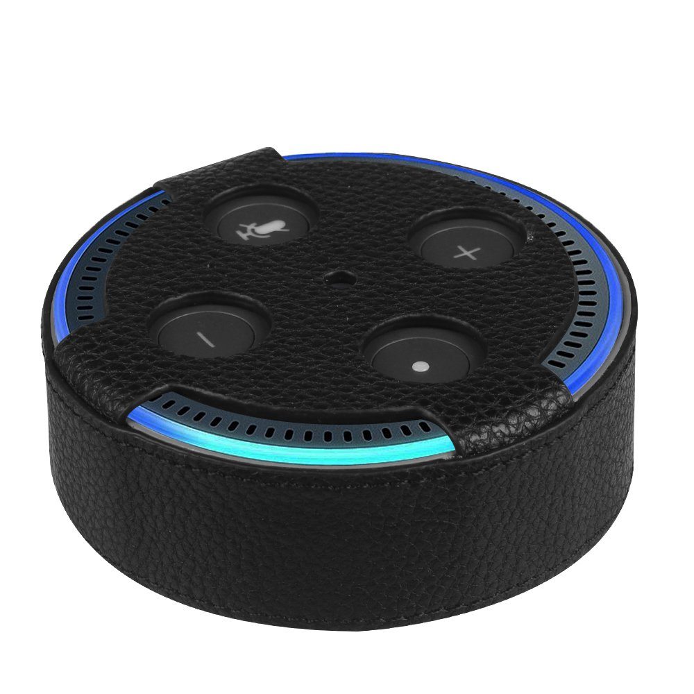 Fintie Protective Case for Amazon Echo Dot (Fits all-new Echo Dot 2nd Generation Only) - Premium Vegan Leather Cover Sleeve Skins, Black