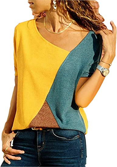 Wamvp Camisetas Mujer Manga Corta Blusas Tops de Túnica con Bloques Patchwork Verano Casual Moda Camisas
