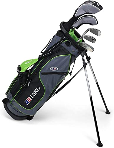 U.S. Kids 2017 Golf Ultra Light, 5 Club Carry Golf Set with Bag, Grey Green, Right Hand 57 Height