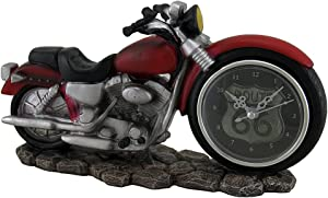 Zeckos Time to Ride Red Motorcycle Route 66 Desk Clock 10 Inch