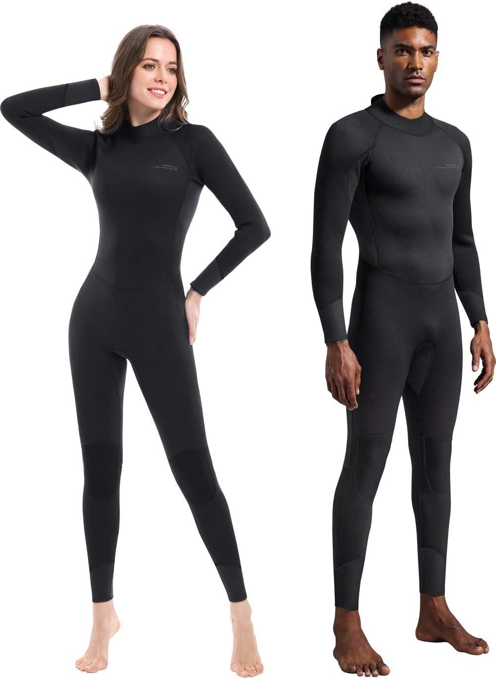 Dark Lightning Full Wetsuit Men and Women 3/2mm Wetsuit Women for Diving Surfing Snorkeling Kayaking