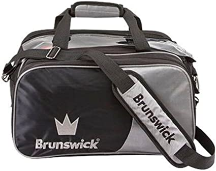 Brunswick Crown Double Tote with Pouch 2 Ball Bowling Bag Silver