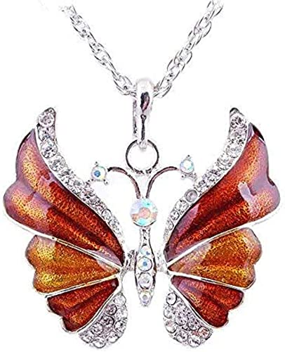 Choose Color- 2 Butterfly Pendant Alloy Enamel Rhinestone Bright Silver Plated