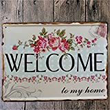 KING DO WAY Welcome To My Home Pattern Metal Shabby Chic Vintage Painting Drawing Sign Home Garage Poster Sign Tin Plaque Wall Decor 8x12 inches