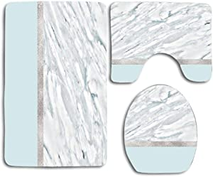 NEWcoco Toilet Seat Cover Bath Mat Lid Cover,3pcs/Set Rugs Calacatta Verde - Silver Turquoise