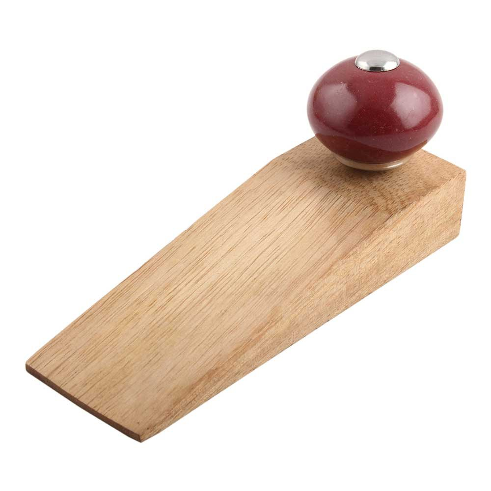 IndianShelf Set of 3 Handmade Cherry Round Wooden Ceramic Door Stoppers Premium Stop Wedge Work On All Floors Non Stretching Strong Grip
