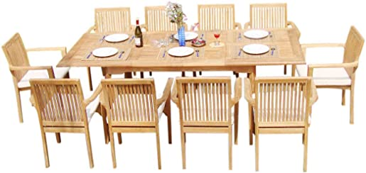 WholesaleTeakFurniture Grade-A Teak Wood 10 Seater 11 Pc Dining Set: 94″ Double Extension Rectangle Table and 10 Lua Stacking Arm Chairs 21LU2011