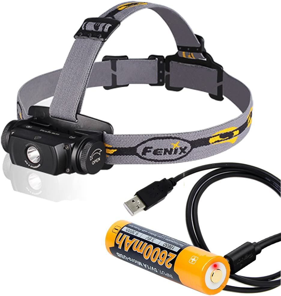 Fenix HL55 Rechargeable 900 Lumens Headlamp, Fenix Rechargeable Battery with Built-in USB Port, LumenTac USB Cable