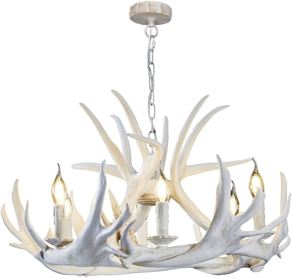 HUITICO Deer Antler Chandeliers White, 6 Light Rustic Hanging Lamp Ceiling Fixture for Living Dining Room Christmas Bar Cafe Party Villas Restaurant