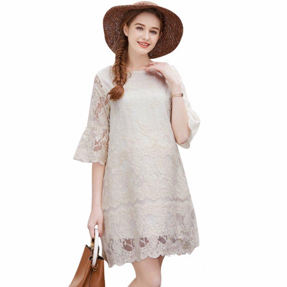 ZH Vestido de primavera y verano de maternidad, vestido de modelos de moda 2018, occidental en la sección larga de camisa de organza de verano de mujeres ...