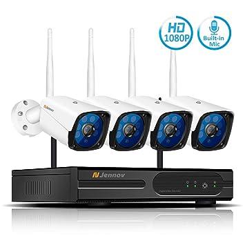 TLgf Cámara de Seguridad Wireless WiFi Monitor Set de 12 Pulgadas de Pantalla DVR aplicación móvil Vista remota para iOS Android App: Amazon.es: Hogar