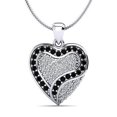 076eb950217a Moncoeur Halskette Capucine Herzanhänger-Silber 925 ein Herz aus Weißen und  Schwarzen Zirkonia Kristallen mit Zusätzlicher Kette und Luxusetui   Amazon.de  ...