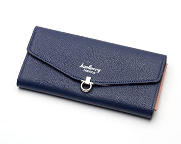 MPTECK @ Azul Cartera de mujer grandes con monedero cartera para Ladies billetera mujer cartera de PU Cuero Cartera Piel mujer cartera grande mujer con ...