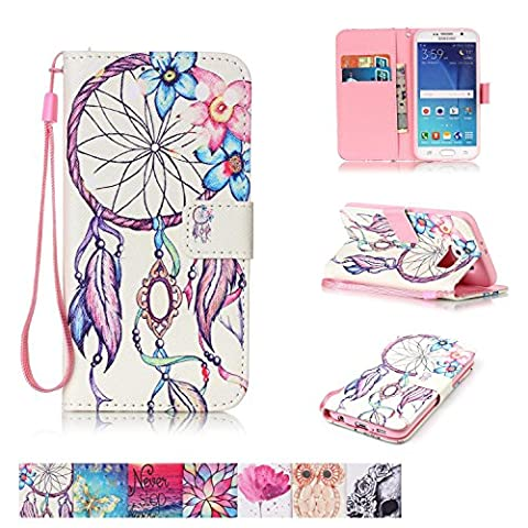 Galaxy S6 Case, Firefish [Kickstand] PU Leather Flip Purse Case Slim Bumper Cover with Lanyard Magnetic Skin for Samsung Galaxy - Argyle Purse
