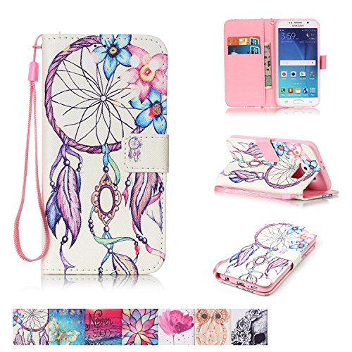 Galaxy S6 Case, Firefish [Kickstand] PU Leather Flip Purse Case Slim Bumper Cover with Lanyard Magnetic Skin for Samsung Galaxy S6