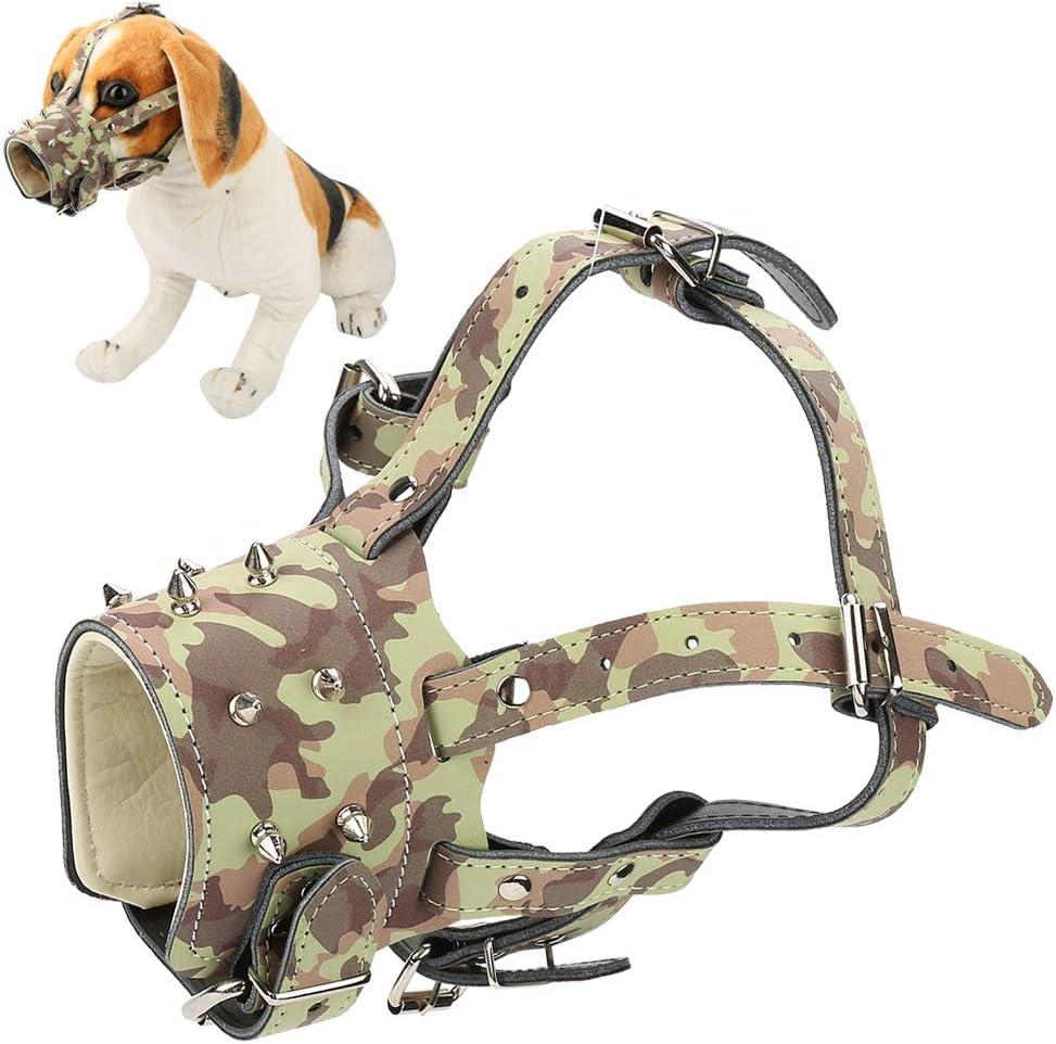 Pssopp Máscara de adiestramiento de Perros con Correas Ajustables antirruido antirruido Piel de Perro sintético bozal para Perro de Seguridad(Camuflaje)