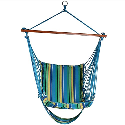 Sunnydaze Hanging Hammock Chair Swing with Footrest, Padded Soft Cushions, Indoor Outdoor, 330 Pound Capacity, Ocean Breeze