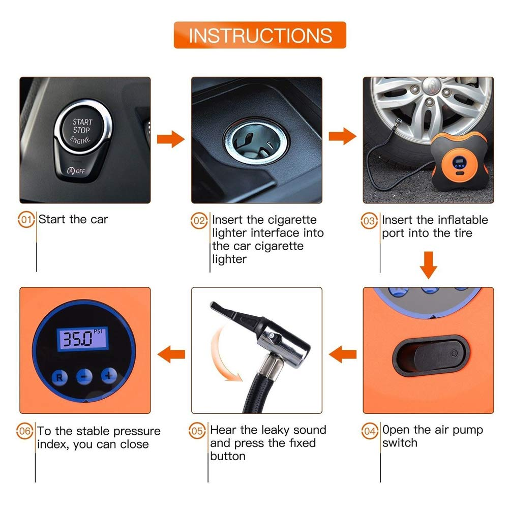 CNIKESIN Portable Tire Inflator Car Air Compressor Pump, Auto Digital Tyre Inflator with Pressure Gauge 12V 150 Psi for Cars, Trucks, Bicycles, Basketballs, Air Boats