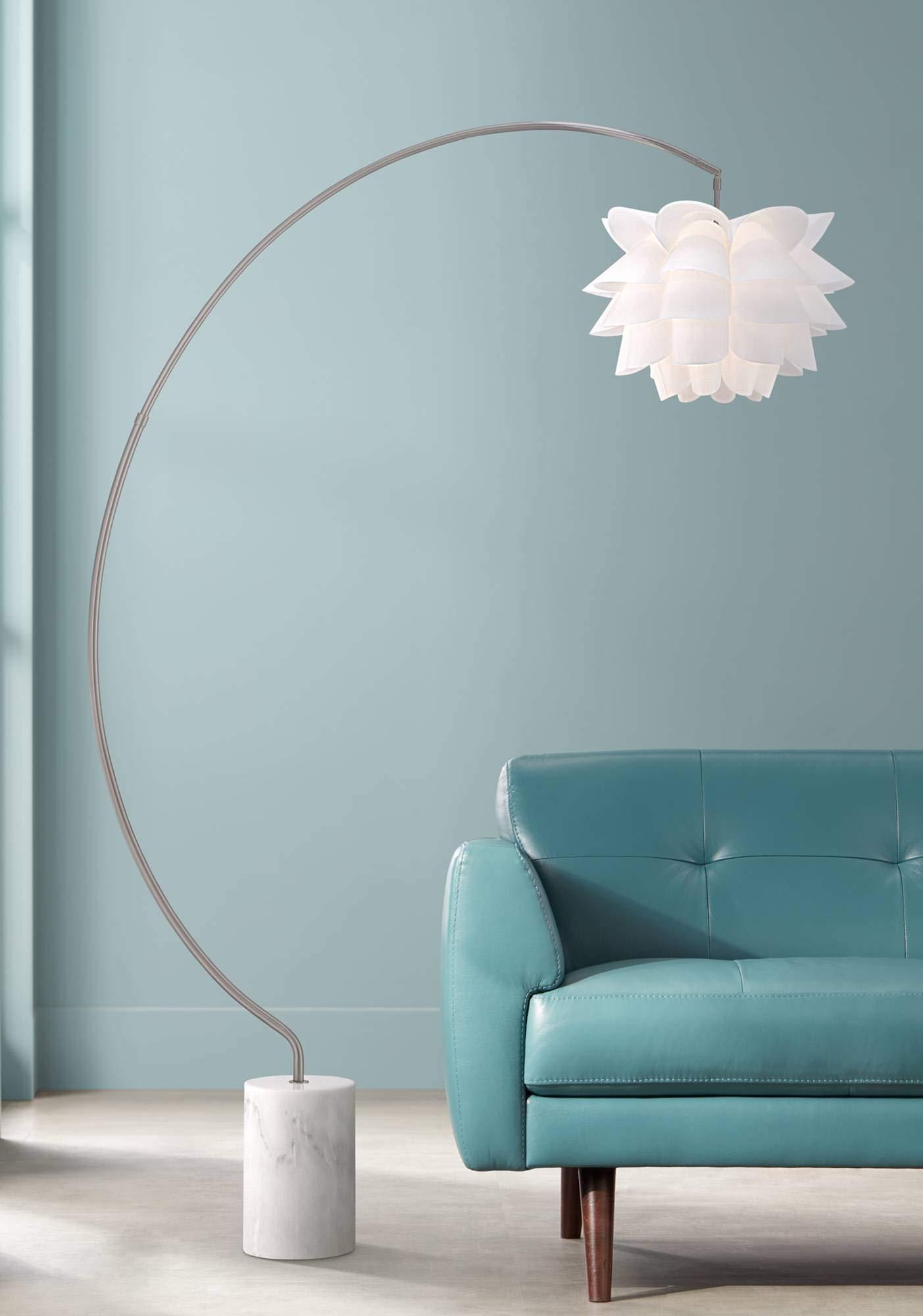 Modern Arc Floor Lamp Satin Nickel White Flower Shade for Living Room Reading Bedroom Office - Possini Euro Design