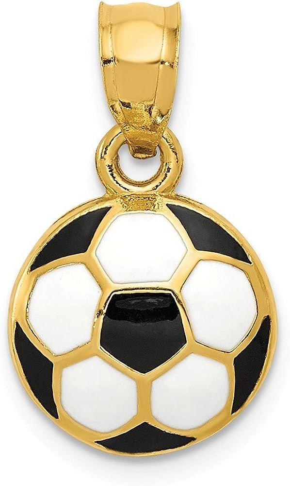 Colgante de pelota de fútbol esmaltada de 14 quilates en oro ...
