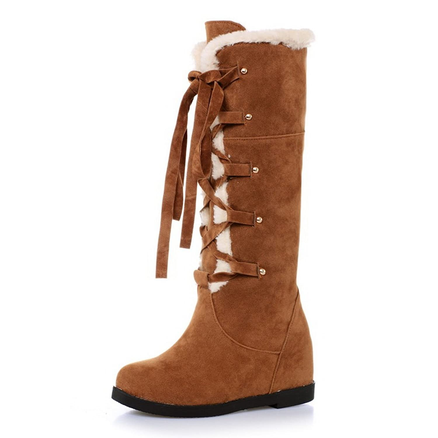 1TO9 Womens Lace-Up Snow Boots Low Heels Frosted Boots