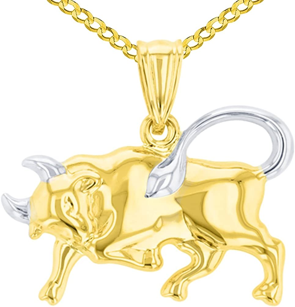 14K Yellow Gold Reversible Round Bull Taurus Zodiac Sign Pendant with Cuban Chain Necklace