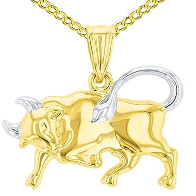 0bdda6cf0f38bc Amazon.com: High Polish 14K Yellow Gold Bull Pendant Taurus Zodiac Sign  Charm Cuban Chain Necklace, 16