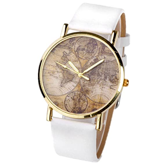 Better Dealz Vintage Mapamundi Reloj Cuero con Metal Ligero para Mujer Reloj de Pulsera Analógico de Cuarzo para Mujer Blanco: Amazon.es: Relojes