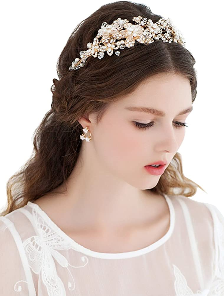 Babyonline Gold Bridal Headband Head Pieces Vintage Pearls Crystal for Wedding Same as Picture One Size