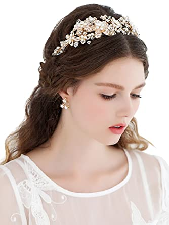 Babyonline Gold Bridal Headband Head Pieces Vintage Pearls Crystal ... 2177530feed