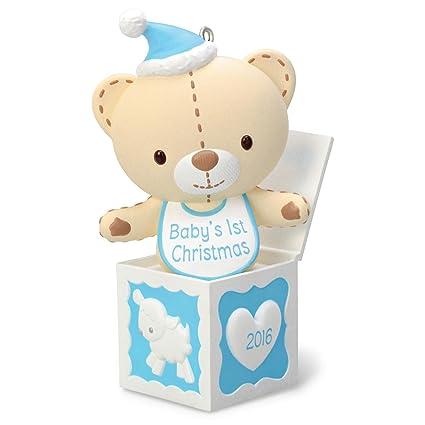 hallmark 2016 baby boys first christmas teddy bear christmas ornament