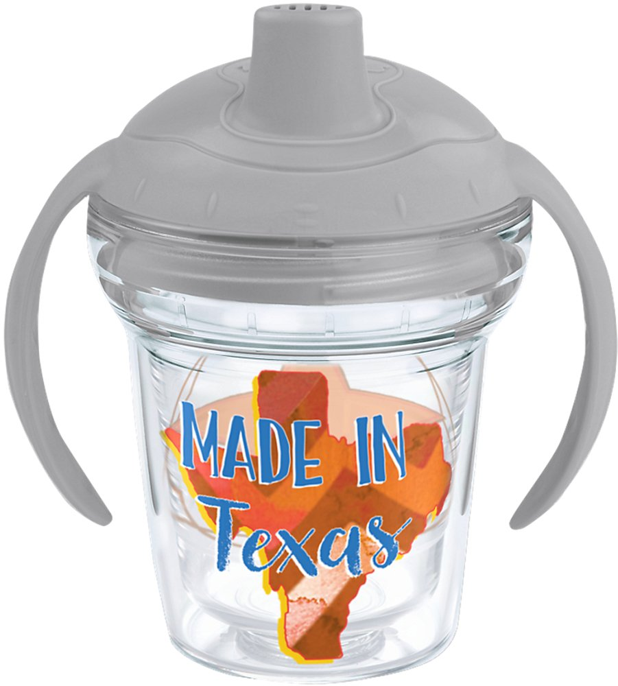 Tervis 1249203 Made in Texas Insulated Tumbler with Wrap and Moondust Gray Lid, 6oz My First Sippy Cup, Clear