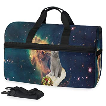 Gym Bag Galaxy Space Cat Sports Travel Duffel Lightweight Canvas Bag