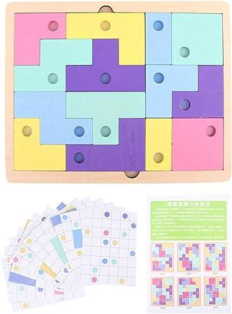 Juego de Cerebro, Tetris de Madera Juegos de Rompecabezas a Juego Juegos de Bloques de Pensamiento lógico Bloques de educación temprana para niños de más de 3 años: Amazon.es: Juguetes y juegos