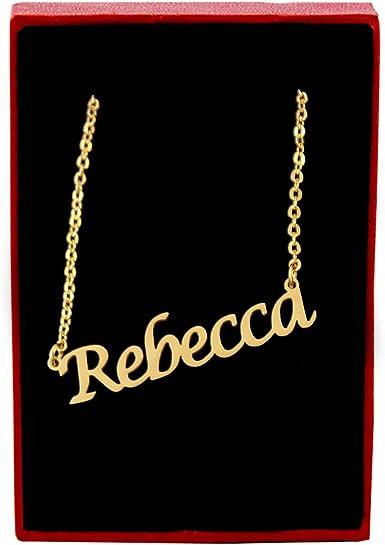 Noble Collier Rebecca Chaîne Vrai Plaqué Or Nom Collier avec Nom Neuf Chaîne