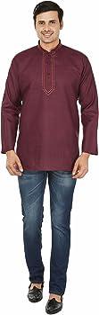 Maple Clothing Camisa corta de algodón para hombre Kurta ropa india - rojo - Large