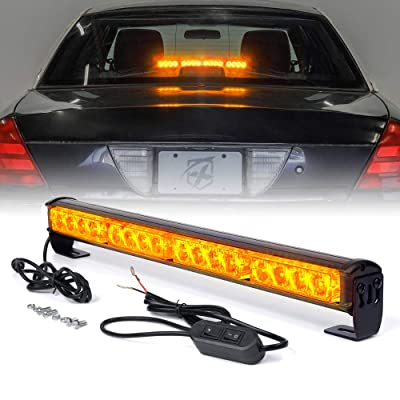 "Xprite 18"" Inch 16 LED Amber Yellow Emergency Traffic Advisor Vehicle Strobe Light Bar w/ 7 Warning Flashing Modes for Trucks Vehicles Cars: Automotive"