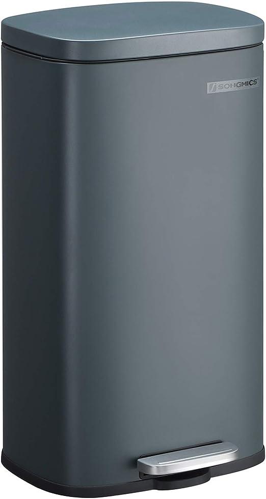 SONGMICS Mülleimer für die Küche, 30 L Abfalleimer mit Pedal, Treteimer mit Inneneimer aus Kunststoff, Klappdeckel, Softclose, geruchsdicht und