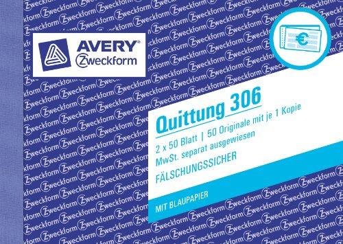 Avery Zweckform 306-5 Quittung MwSt. separat ausgewiesen (A6 quer, 1 Blatt Blaupapier, 2x50 Blatt) 5er Pack, weiß