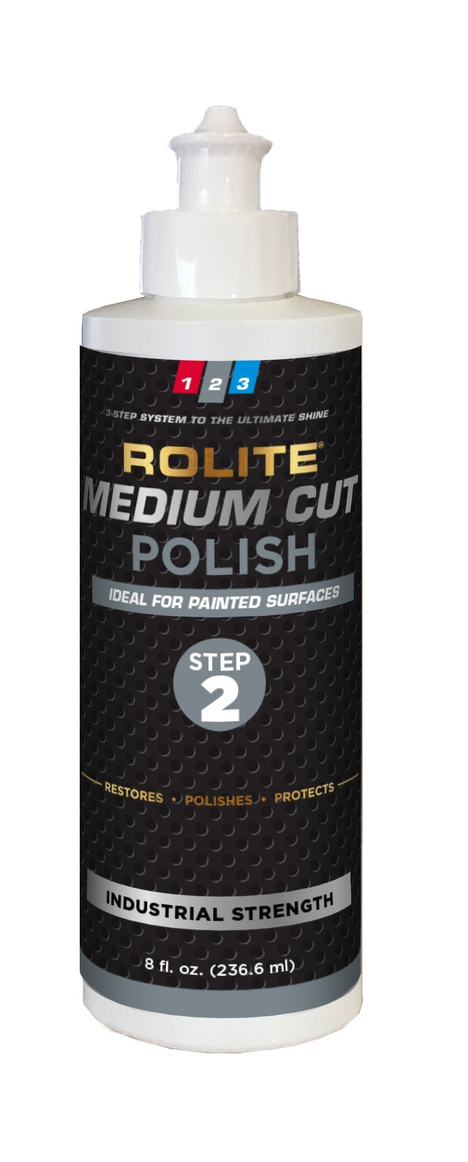 Rolite Medium Cut Polish (8 fl. oz.) for Removing Compound Scratch & Swirl Marks for Automotive Clear-Coat Paints, Low Sling, Easy Clean-up